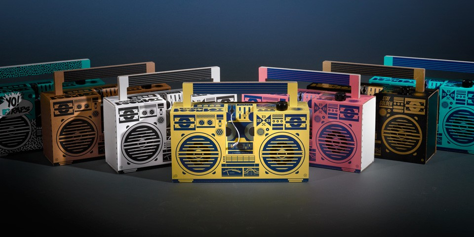 family shot of boomboxes